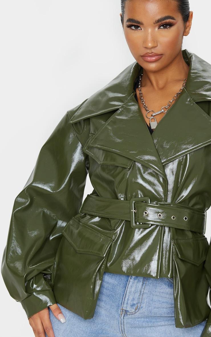 Khaki Vinyl Belted Balloon Sleeve Biker Jacket 5