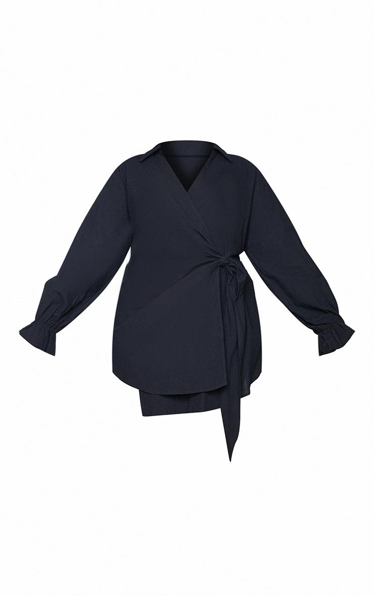 Plus Black Wrap Plunge Dress 5