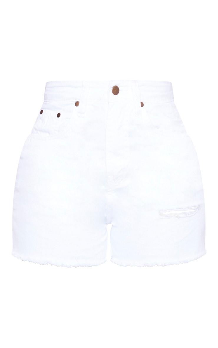 Shape White Denim High Waist Mom Shorts 3