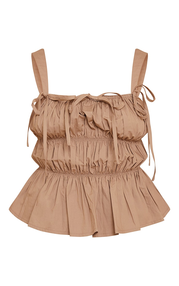 Camel Woven Extreme Ruched Tie Detail Frill Hem Top 5