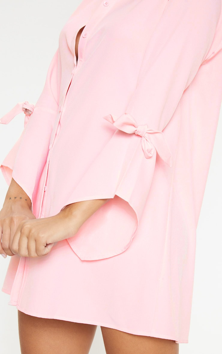 Baby Pink Tie Sleeve Shirt Dress 5