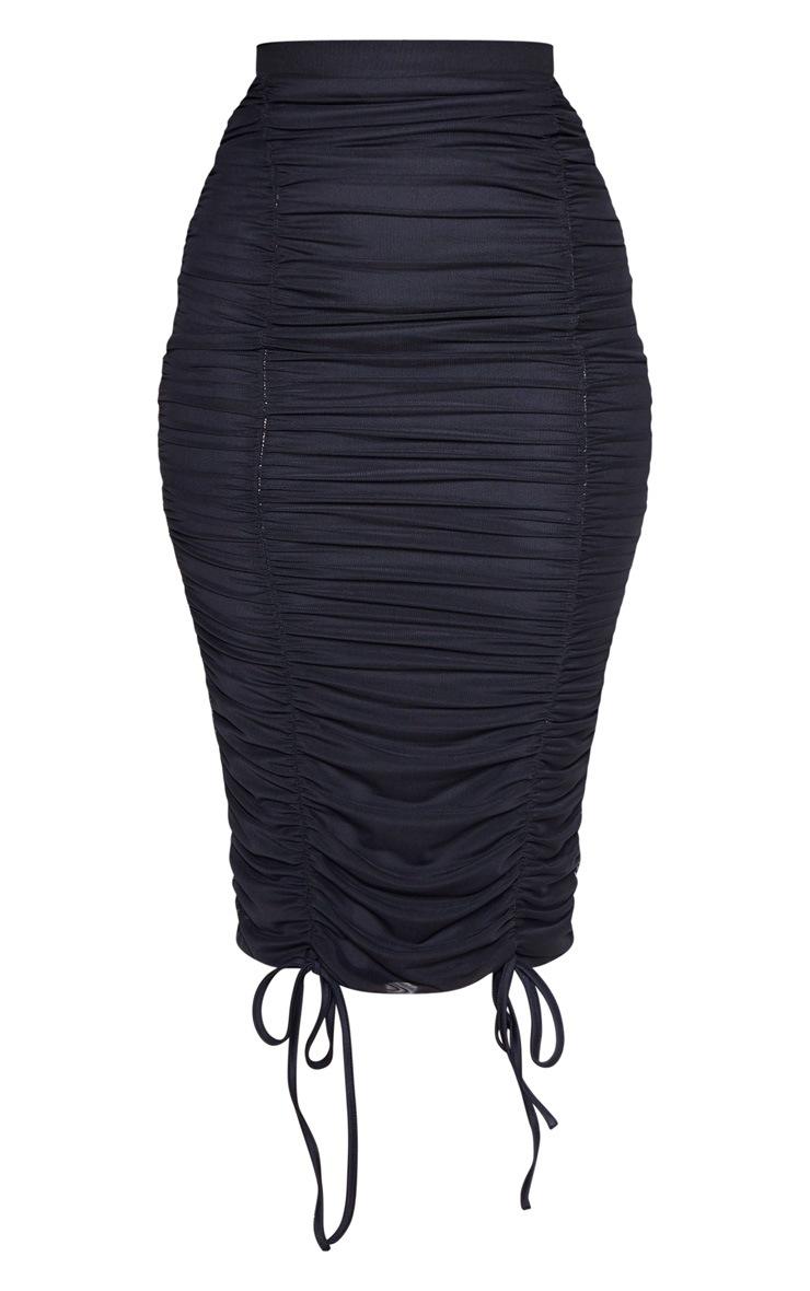 Black Mesh Ruched Detail Midi Skirt  3