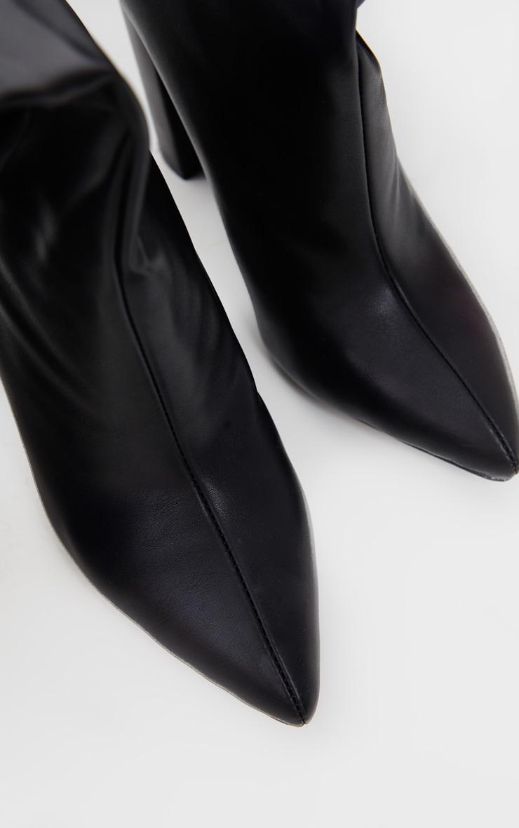 Black Slouch Block Heel Calf Boot 5