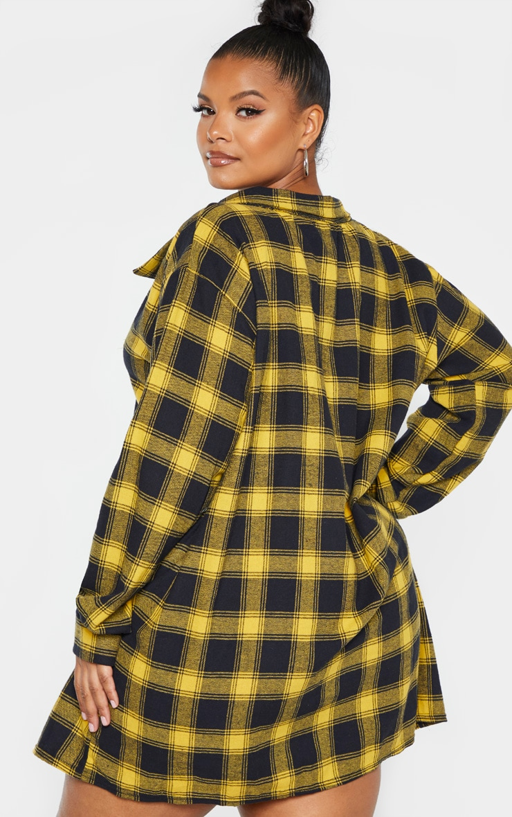 Plus Black Oversized Check Shirt Dress 2