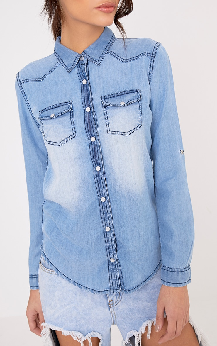 Niaomi Light Wash Slim Fit Denim Shirt 5