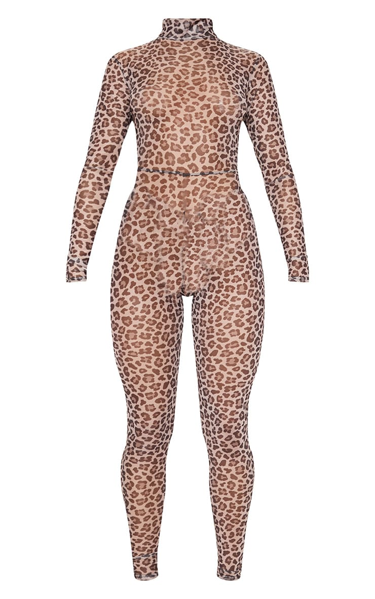 Brown Leopard Print Mesh Long Sleeve Jumpsuit 3
