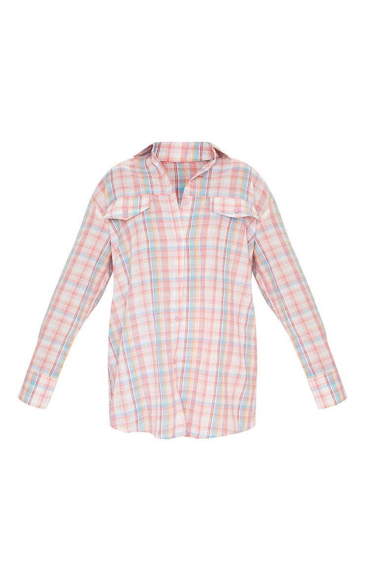 Baby Pink Checked Oversized Shirt 4