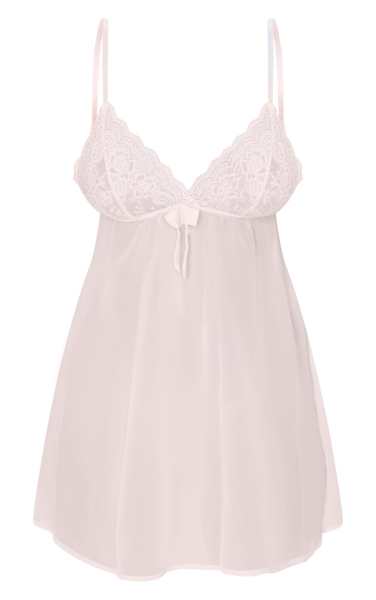 Baby Pink Lace Bust Bow Detail Chiffon Babydoll Nightie 5