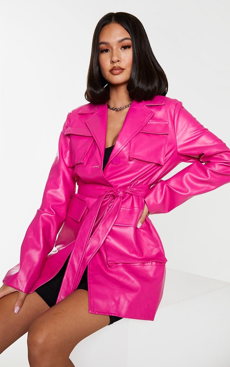 Hot Pink PU Longline Pocket Front Jacket 1