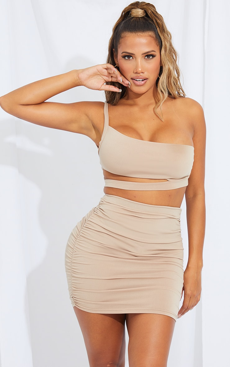 Shape Stone Slinky One Shoulder Cut Out Crop Top 1