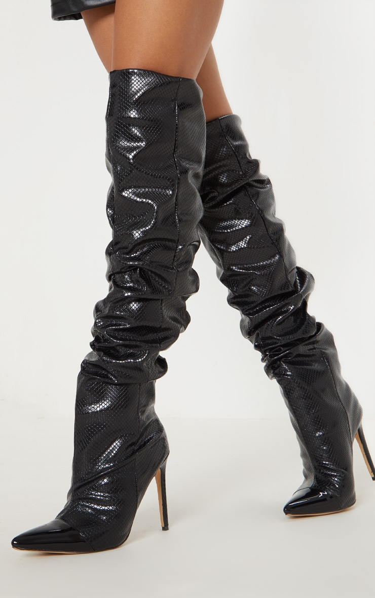 Black Croc Point Slouch Knee Boot 1