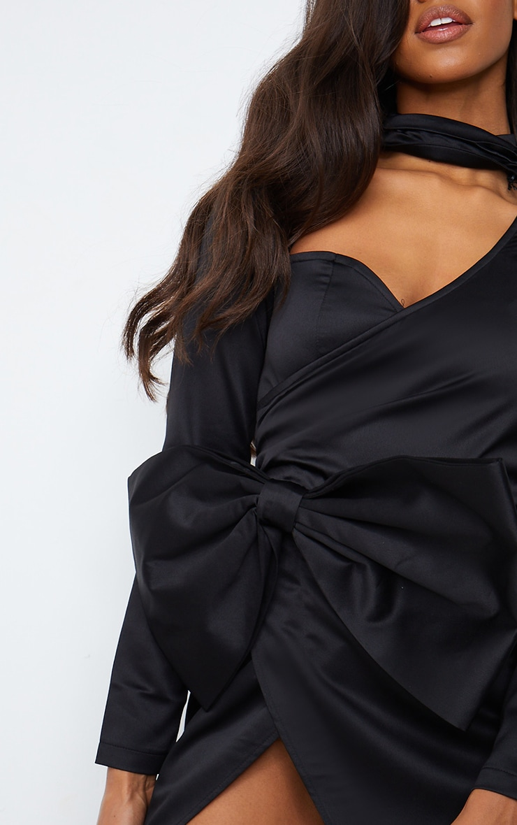 Black Cut Out Bow Detail High Neck Bodycon Dress 4