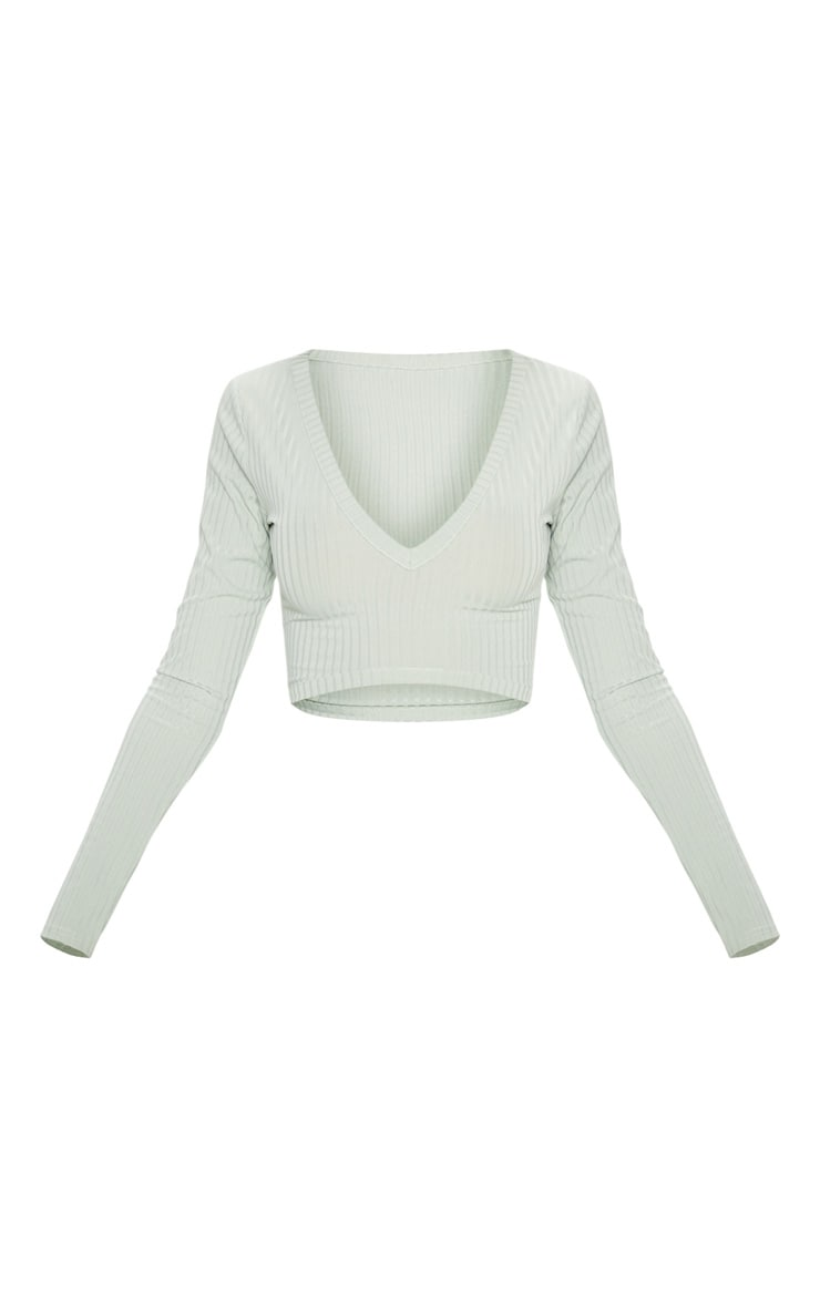 Sage Khaki Rib V Plunge Long Sleeve Crop Top 3