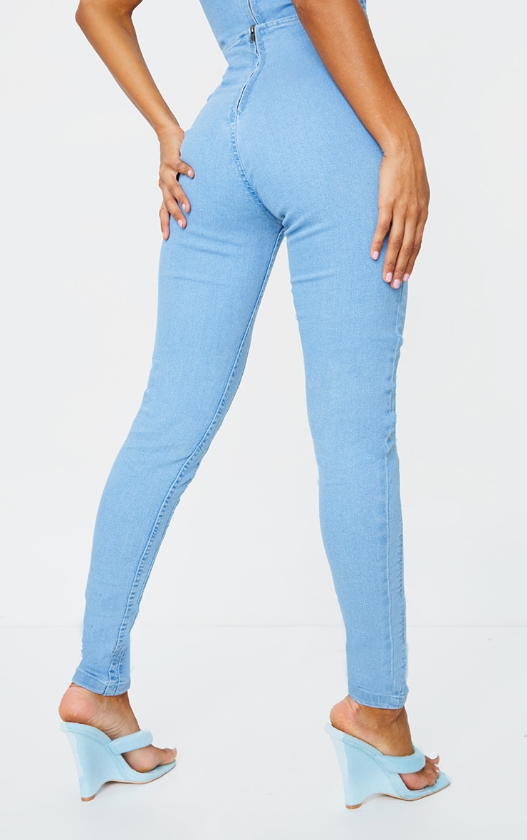 Light Wash Seam Detail Skinny Jeans 3
