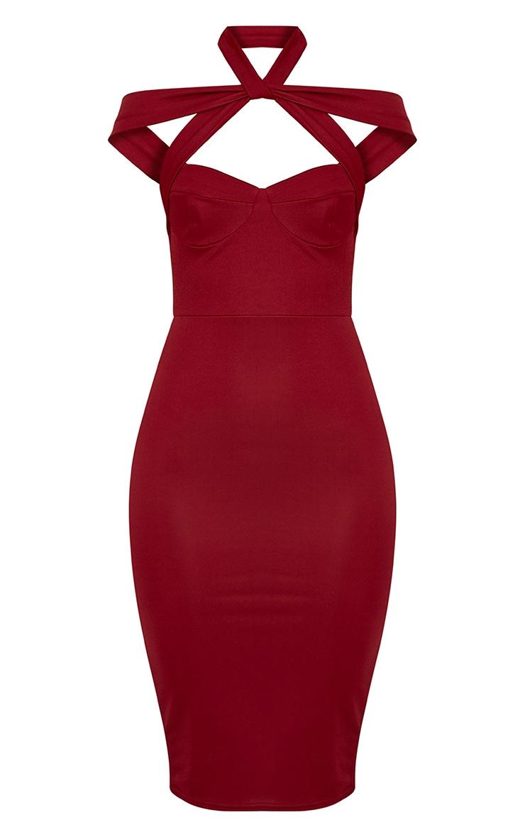 Pandara Burgundy Strappy Top Detail Midi Dress 3