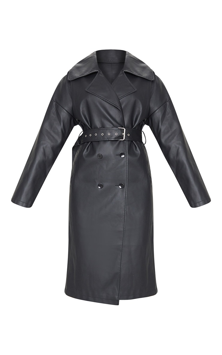 Black Faux Leather Drop Arm Midi Trench 5