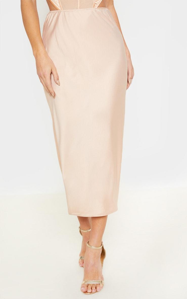 Champagne Midi Satin Skirt 2