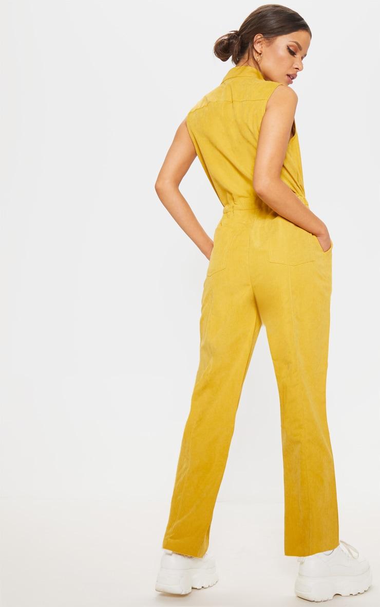 Mustard Faux Suede High Neck Zip Detail Jumpsuit 2
