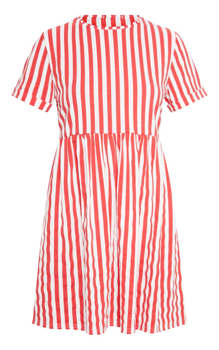 Red Stripe Print Short Sleeve Smock Dress 3