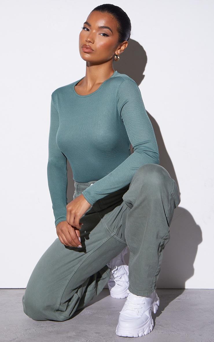 RENEW Green Rib Backless Bodysuit 3