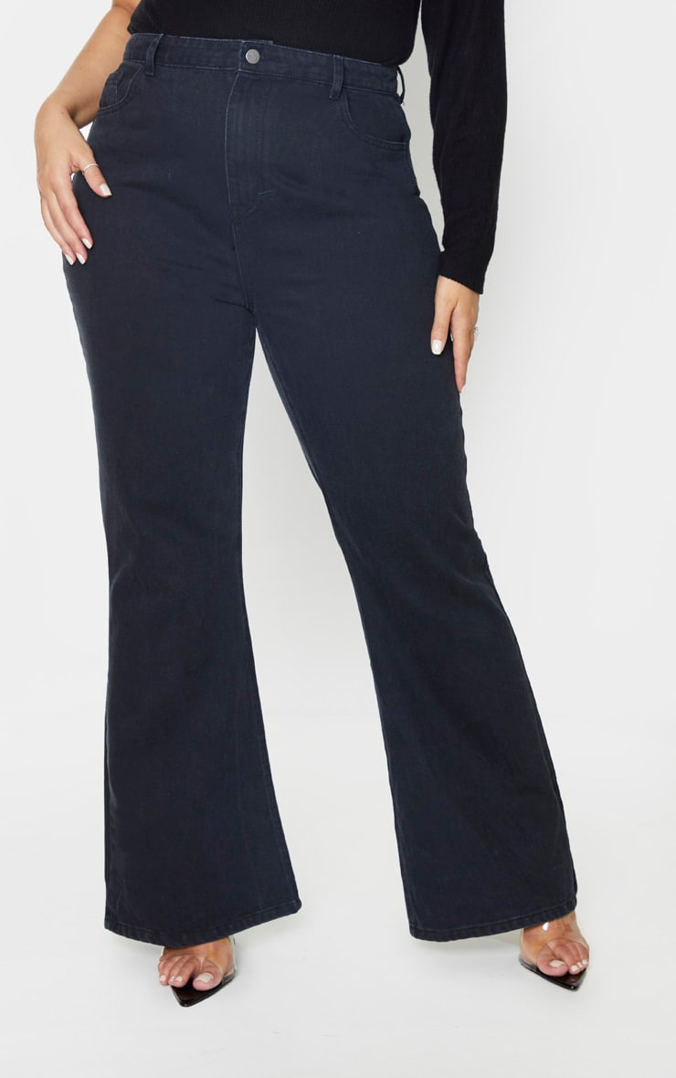 Plus Black High Waist Flared Jeans 2