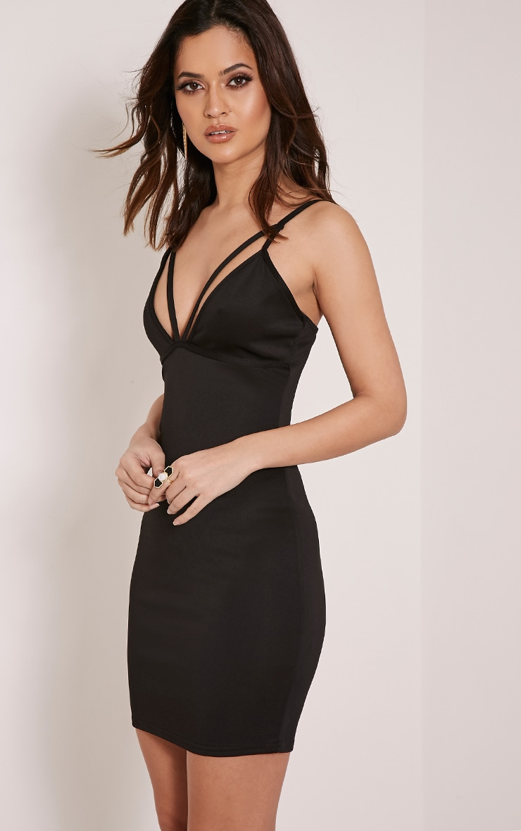Carolina Black Double Strap Bodycon Dress 4