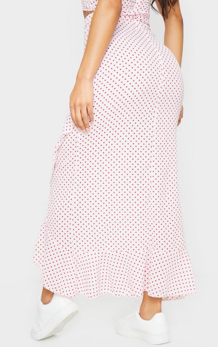 Light Pink Polka Dot Printed Woven Frill Hem Midi Skirt 3