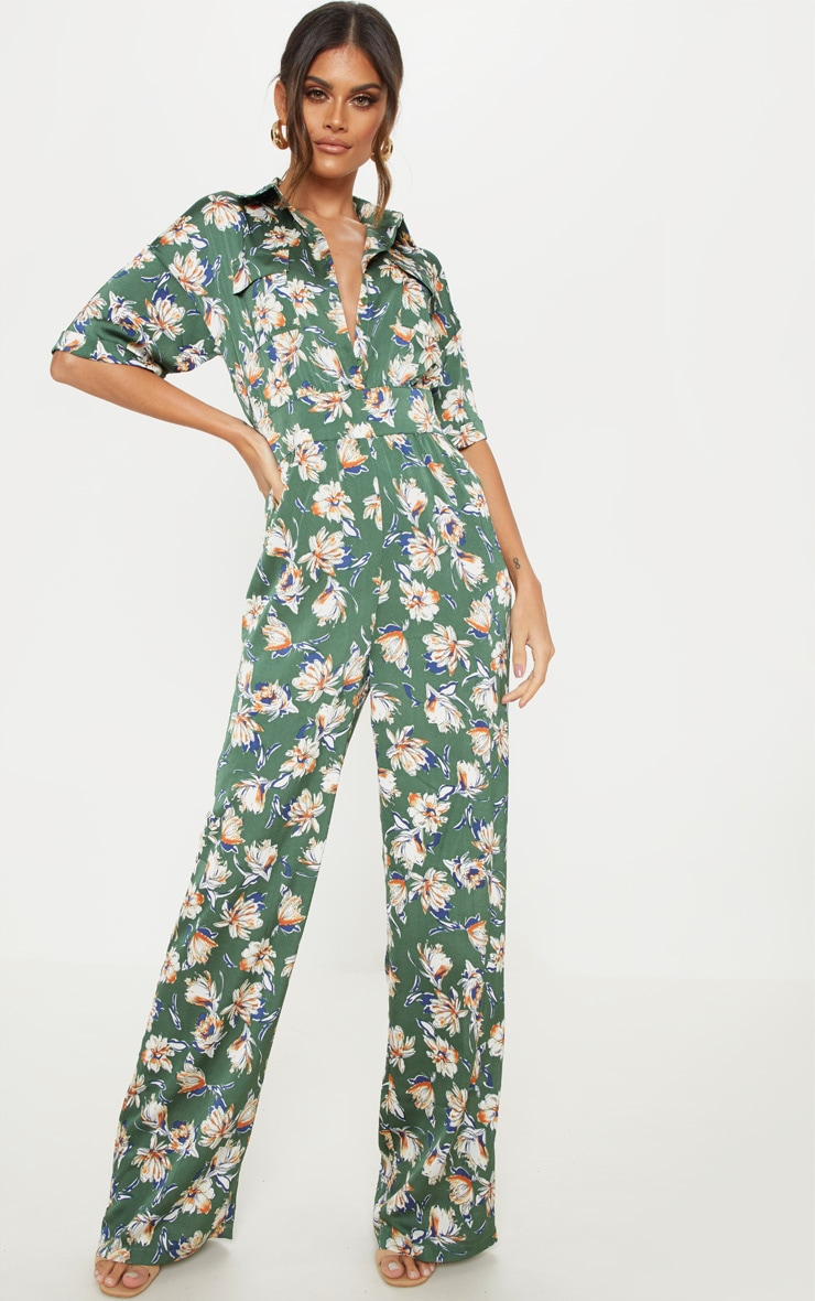 Green Floral Button Up Short Sleeved Jumpsuit 4