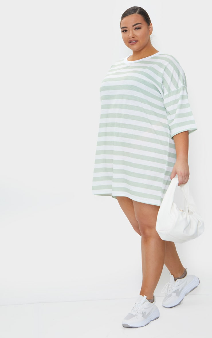 Plus Sage Green Contrast Stripe Oversized Boyfriend T Shirt Dress 1