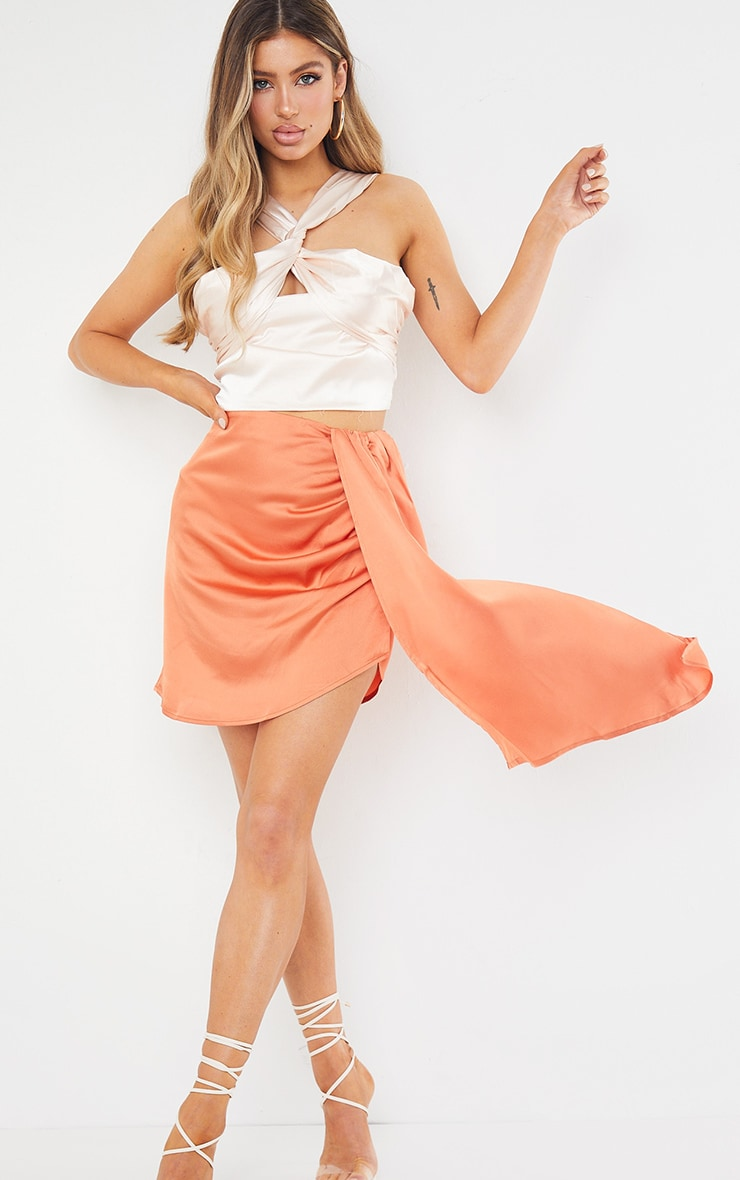 Orange Satin Drape Side Mini Skirt 2