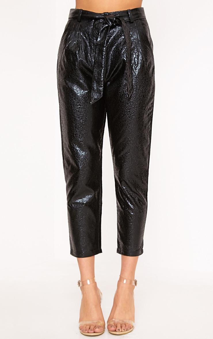 Leanne Black Tie Waist Crack Vinyl Crop Trousers 2