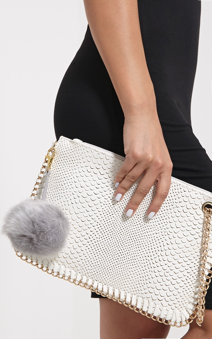 Milly Grey Fur Pom Pom Key Chain 1