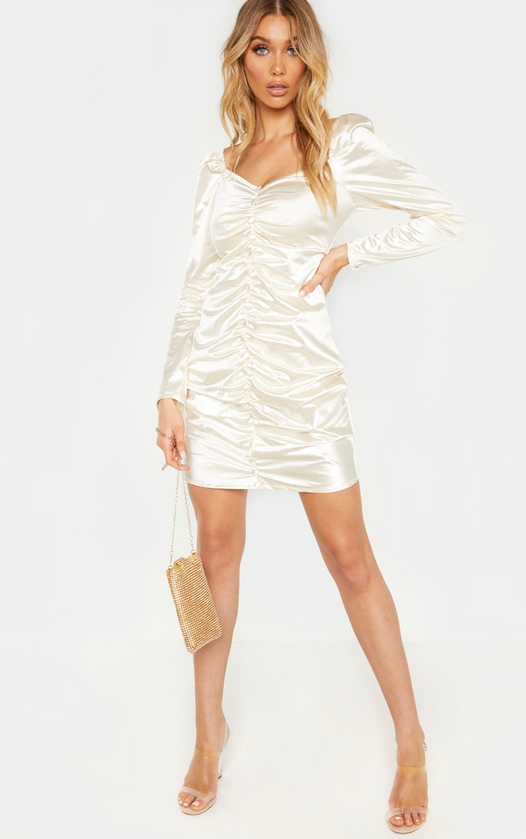 Tall Cream Ruched Button Front Satin Dress  4