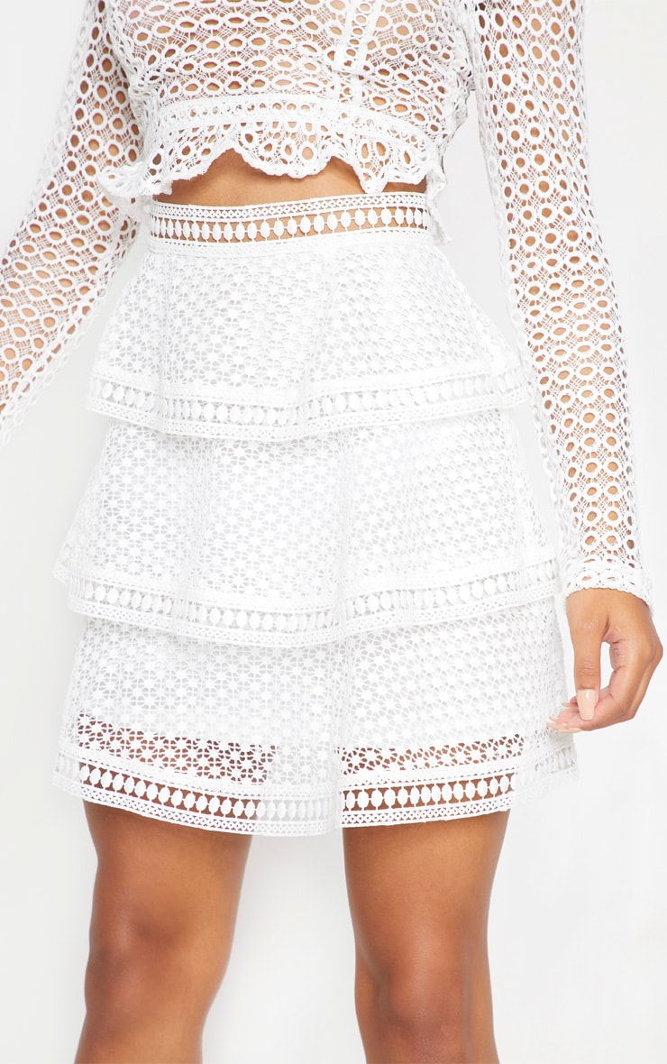 White Crochet Tiered Frill Mini Skirt 6
