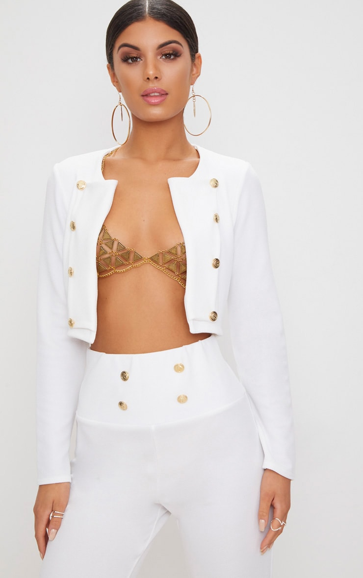 White Military Cropped Jacket