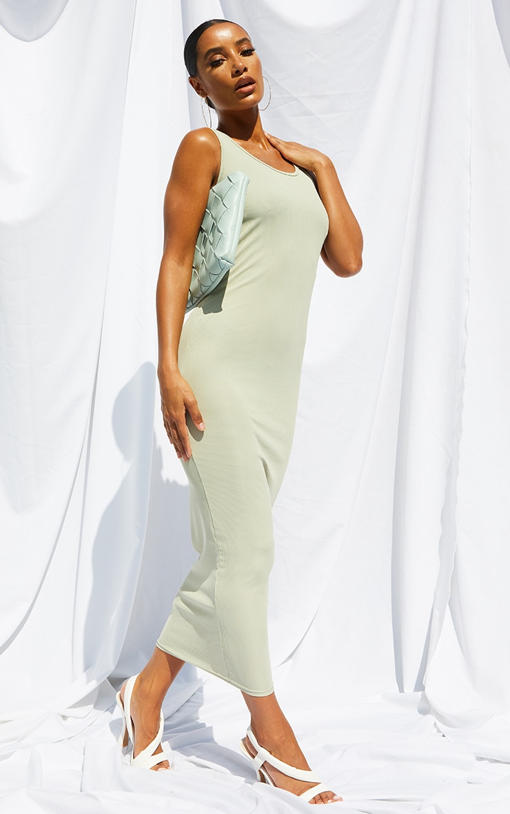 Sage Green Basic Rib Maxi Dress 3