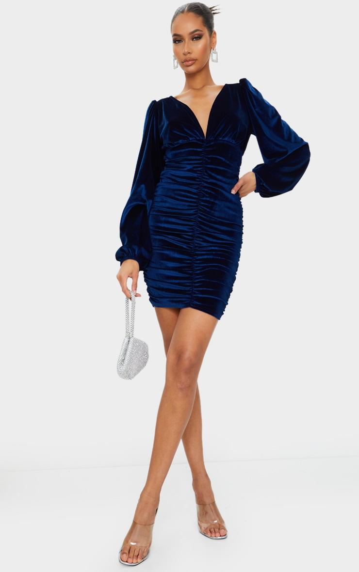 Cobalt Velvet Ruched Balloon Sleeve Plunge Bodycon Dress 1