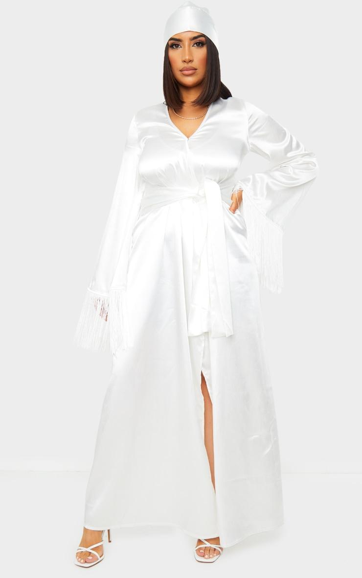 White Satin Pleated Belt Fringe Kimono Dress 1