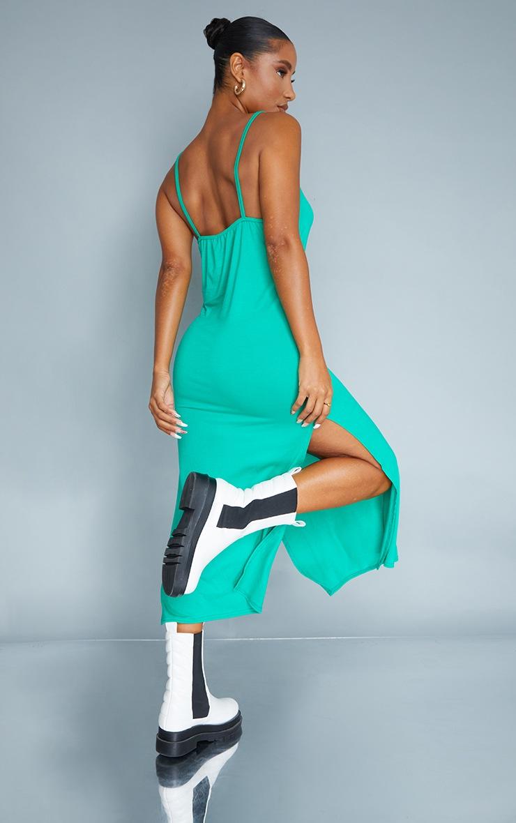 Green Jersey Split Cami Midi Dress 2