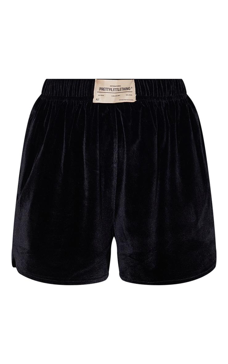 PRETTYLITTLETHING Black Branded Label Velour Runner Shorts 6