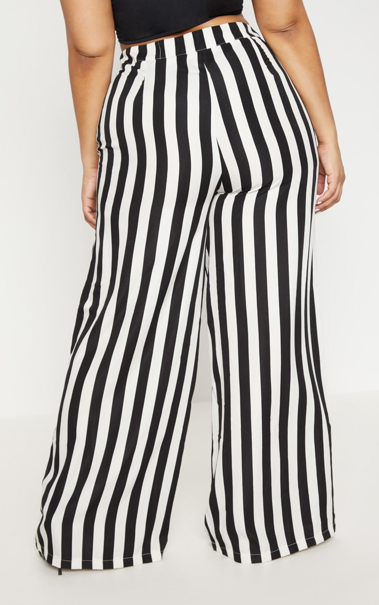 Plus Black Striped Wide Leg Trousers 4