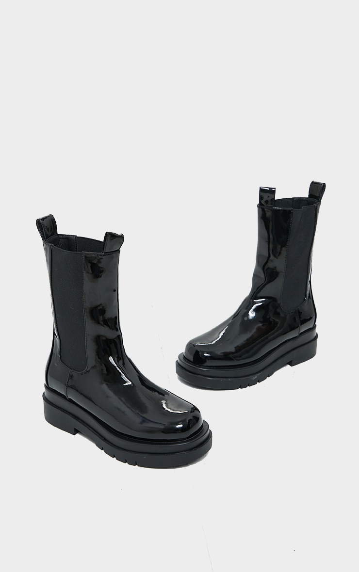 Black Pu Patent Chunky Sole Chelsea Boots 3