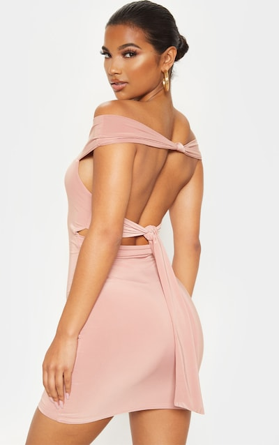 Dusty Rose Slinky Knot Detail Bardot Bodycon Dress
