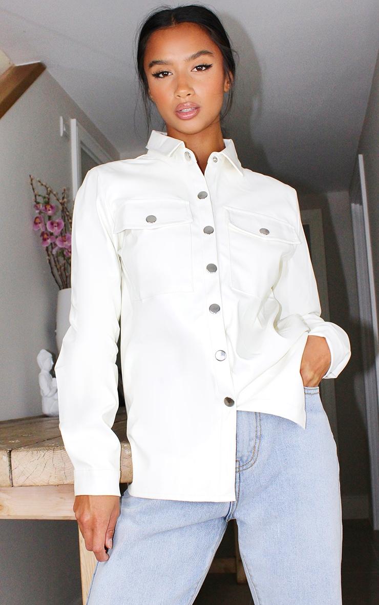 Petite Cream Button Front PU Shirt 1