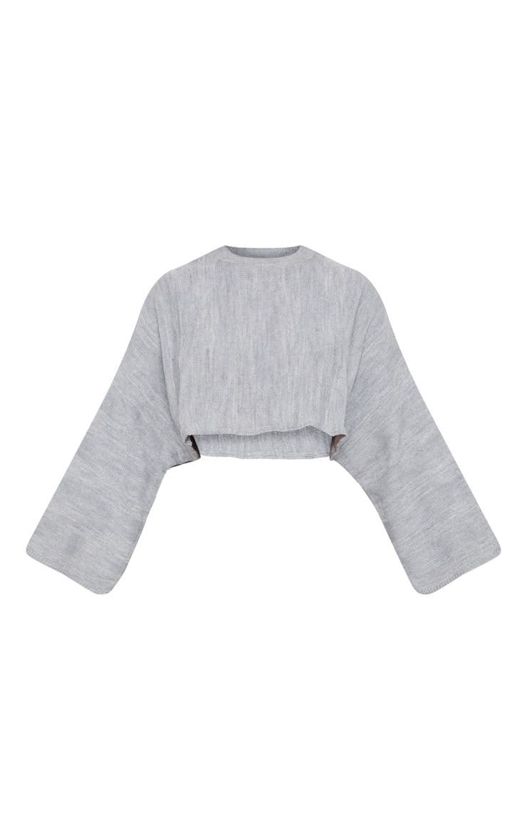 Grey Stripe Detail Crop Jumper 3