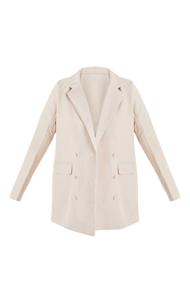 Stone Oversized Double Breasted Covered Button Blazer 5