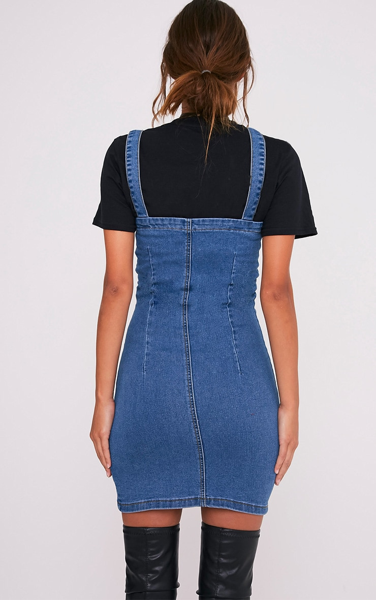 Alexae Mid Wash Denim Front Zip Fitted Body Con Dress 2