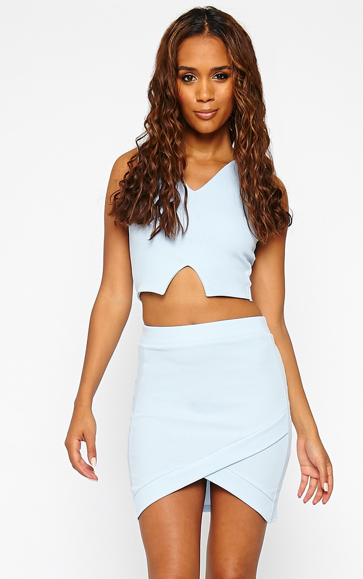 Gabriella Powder Blue Asymmetric Mini Skirt 1