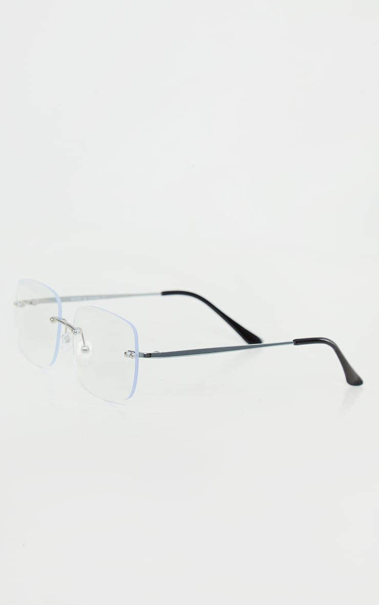 Clear Square Rimless Stud Sunglasses 3