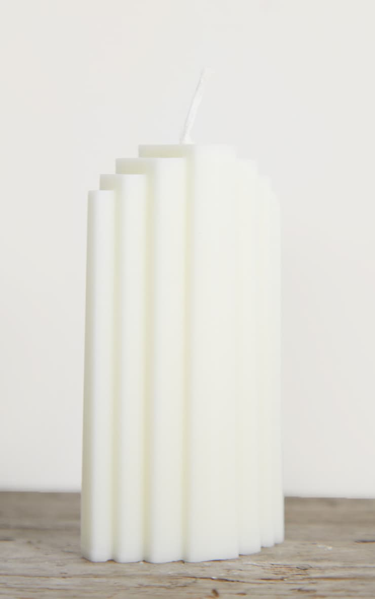 White Art Deco Scented Soy Wax Candle 11cm 4